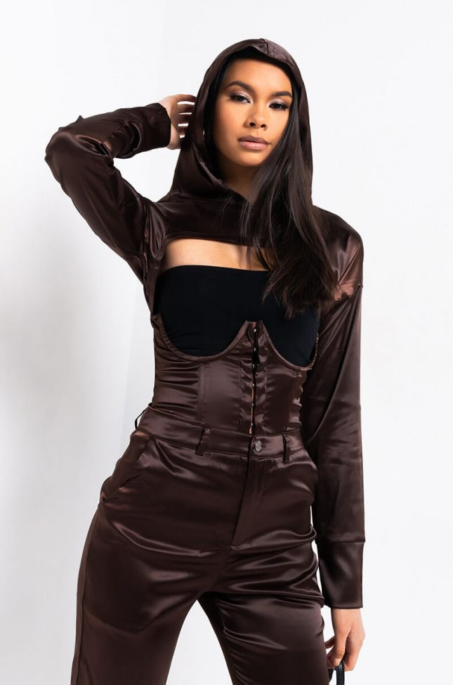 Front View For The Night Satin Shrug in Brown