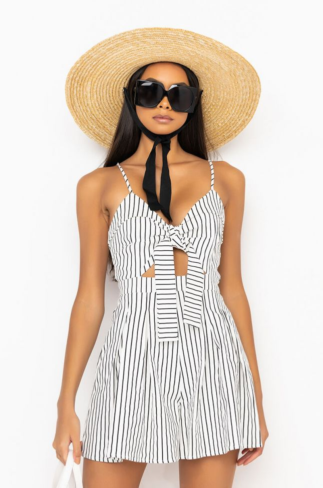 Front View Forever Summer Tie Front Romper in White Multi