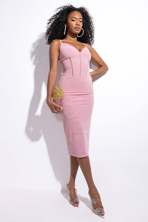 Extra View Forever There Mesh Midi Dress In Stone Trim