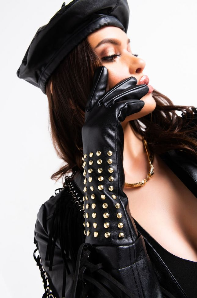 Front View Franda Pleather Studded Gloves in Black