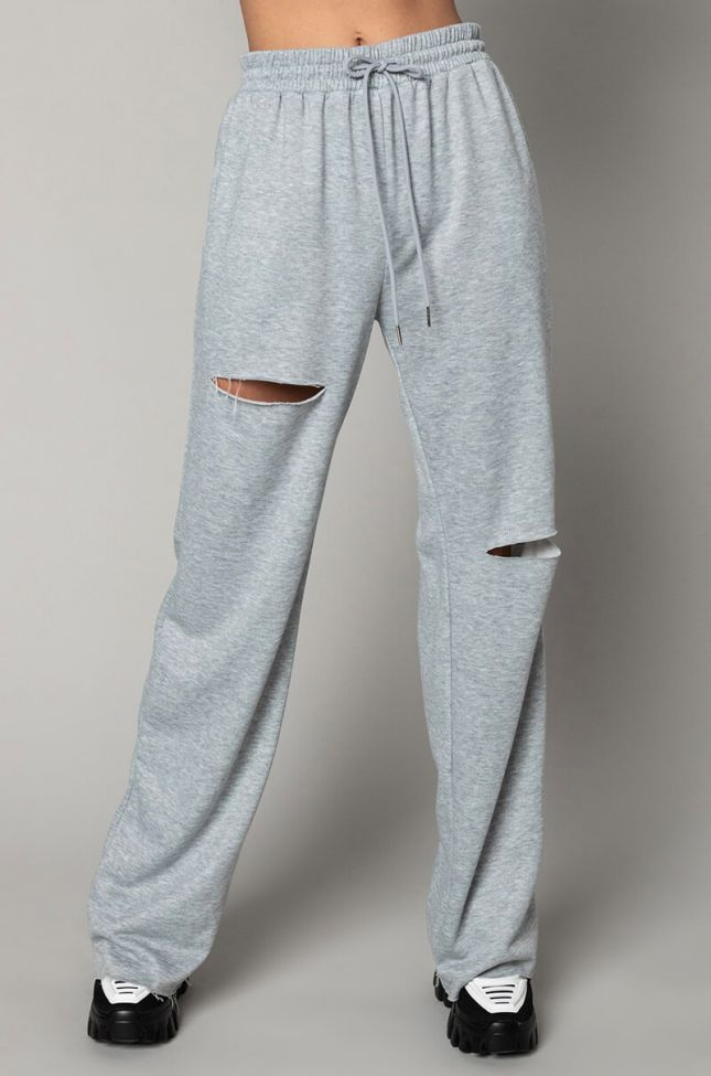 Front View Frankie Wide Leg Distressed Sweatpant in Heather Grey