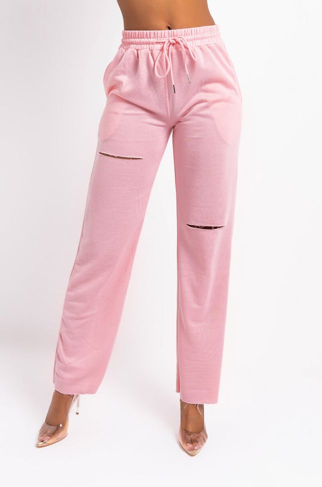 Front View Frankie Wide Leg Distressed Sweatpant in Pink