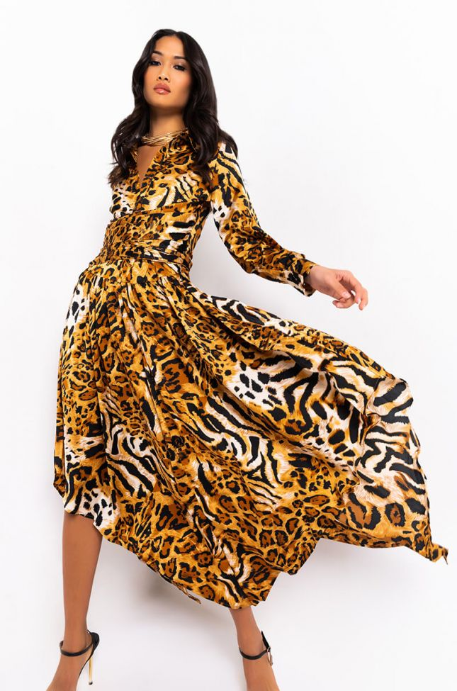 Front View Free Spirit Long Sleeve Animal Print Flowy Maxi Dress in Brown Multi