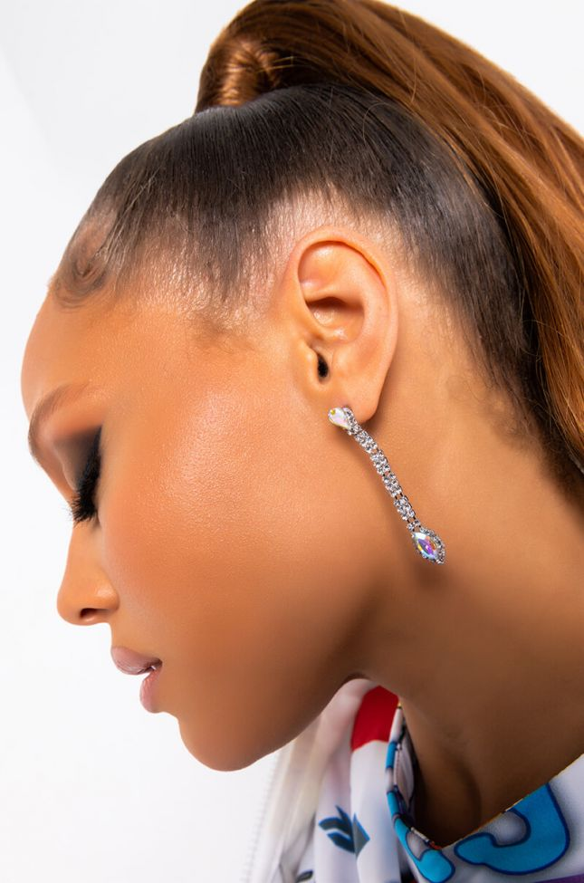 Front View Freestyle Bling Dangle Earring in Silver