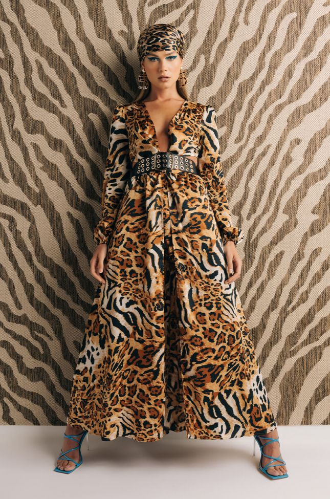 Front View Fresh Out The City Maxi Dress With Cut Outs in Brown Multi