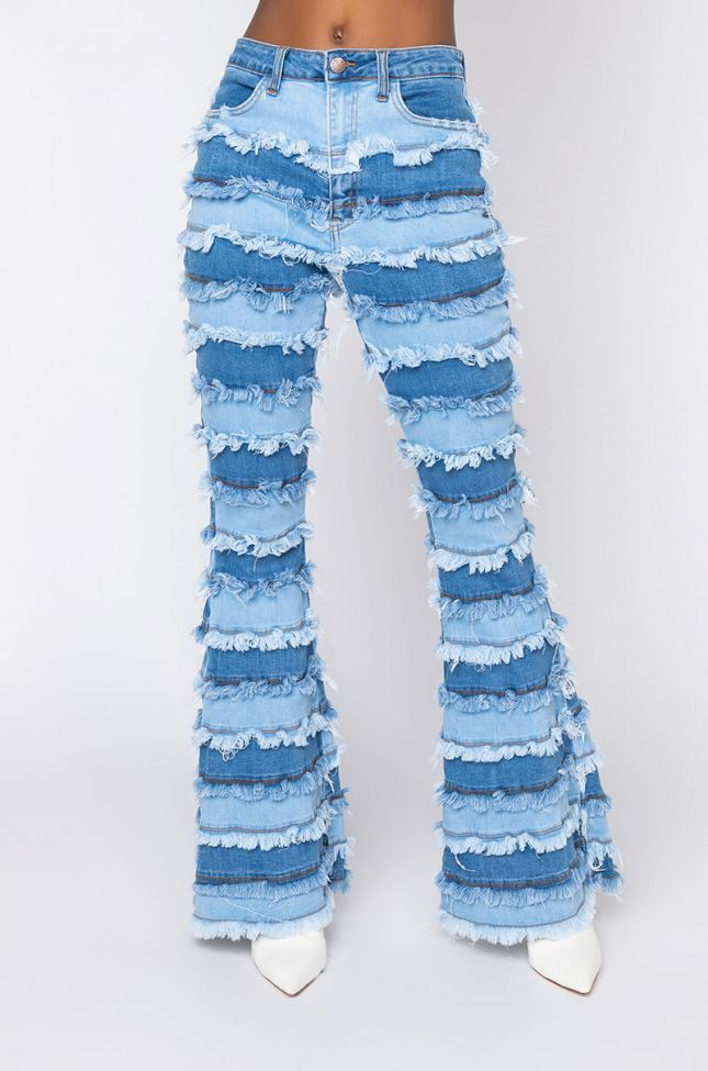 Front View Fringe Benefits Patchwork High Rise Flare Jeans in Light Blue Denim