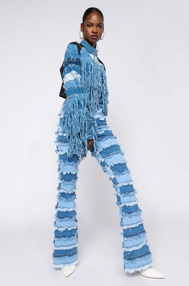 Fringe Benefits Patchwork High Rise Flare Jeans in Light Blue Denim