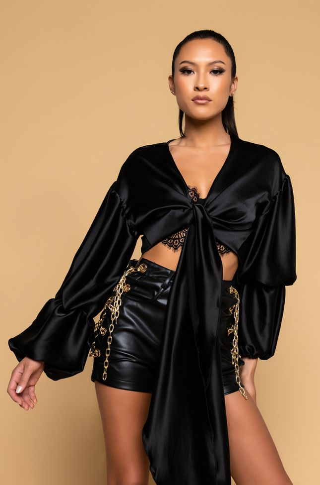 Front View From Dusk Till Dawn Layered Sleeve Tie Front Blouse in Black