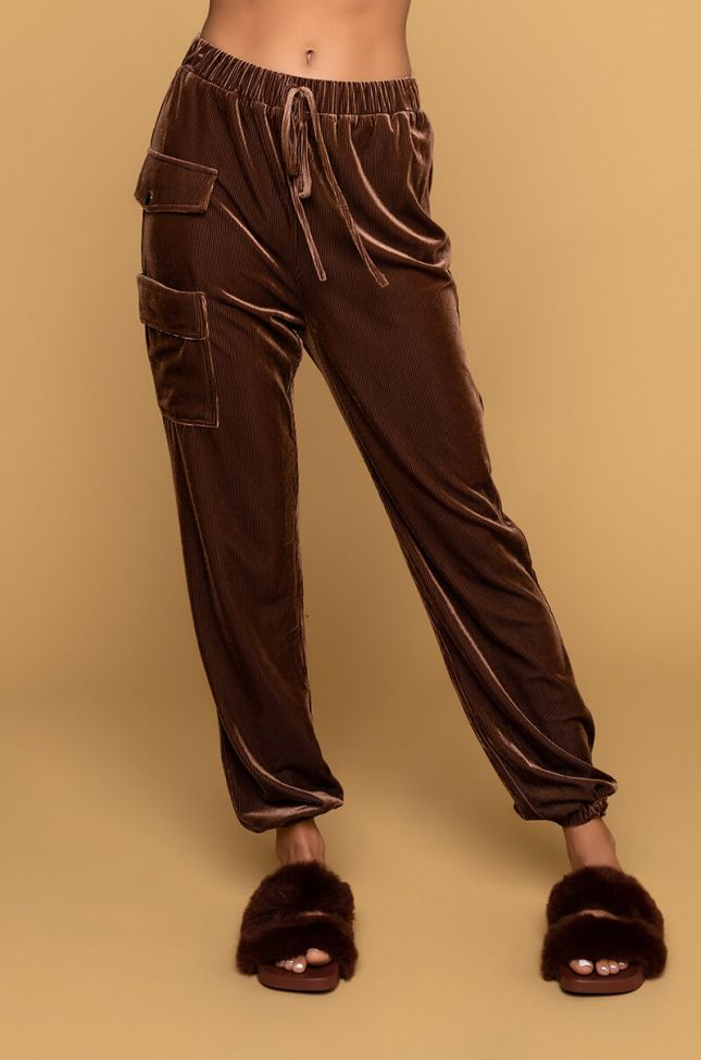 Front View From The Block Ribbed Velvet Cargo Jogger in Brown