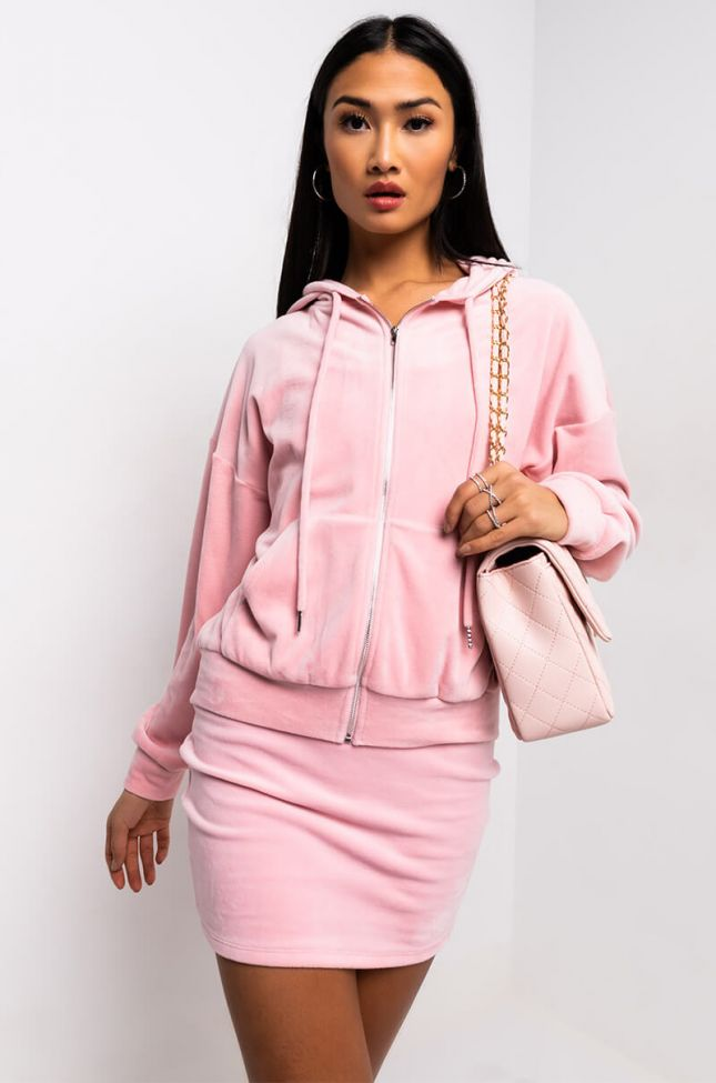 Side View From The Top Long Sleeve Zip Up Sweatshirt in Pink
