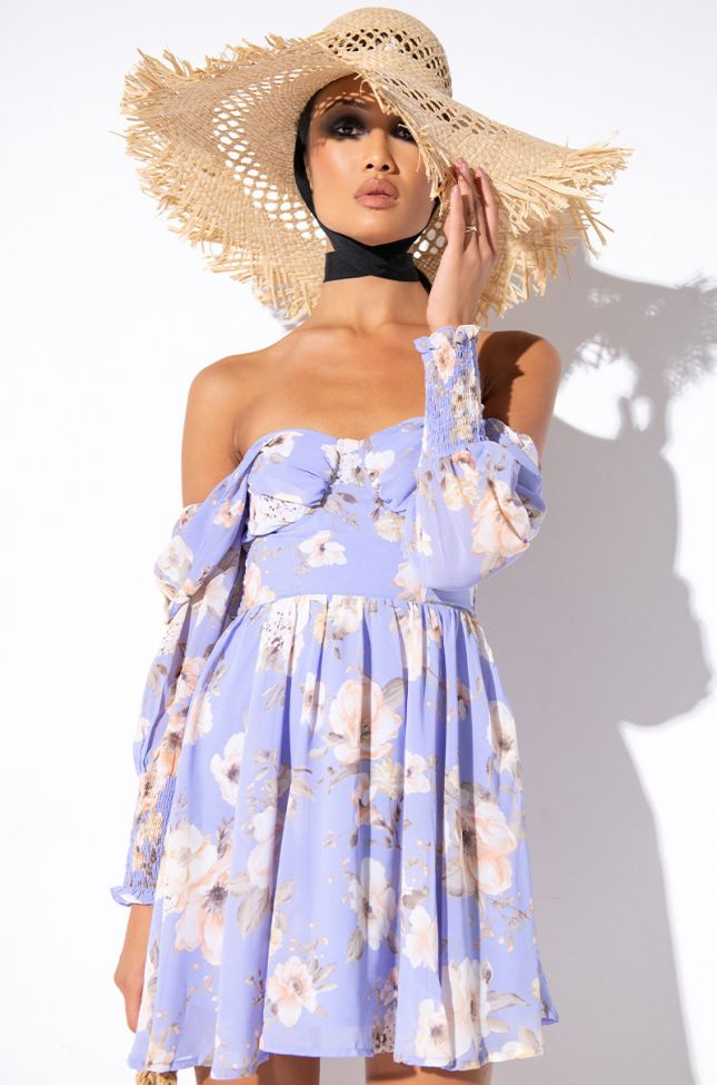 Front View Ft. Your Fave Off The Shoulders Mini Floral Dress in Blue Multi