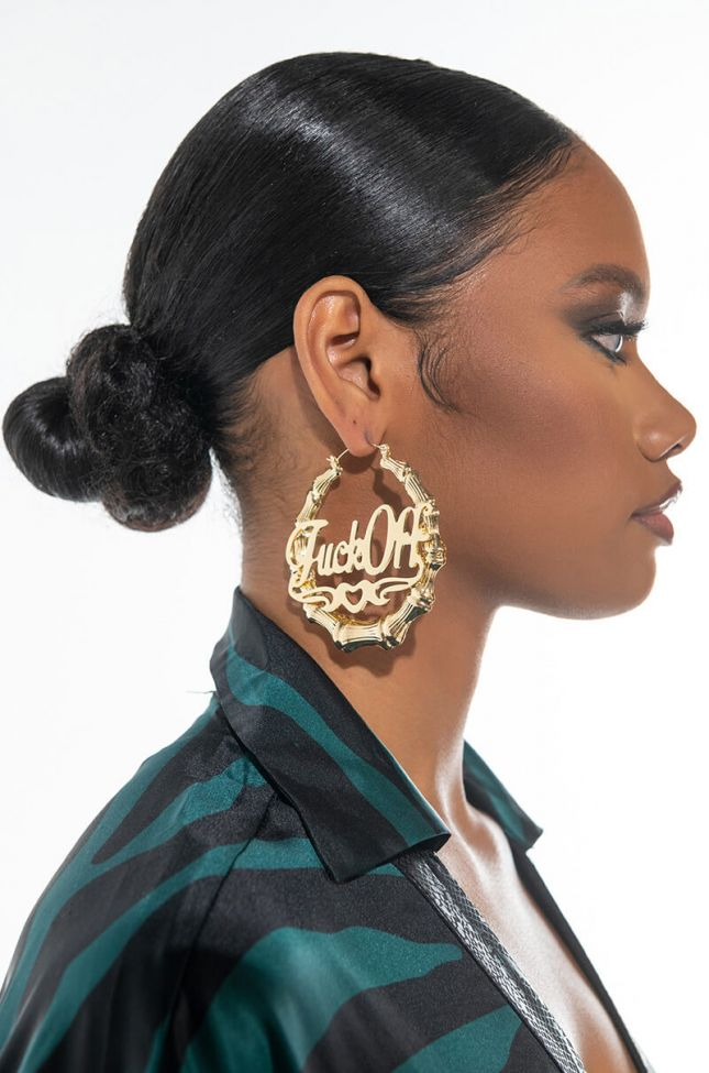 Front View Fuck Off Bamboo Hoop Earring