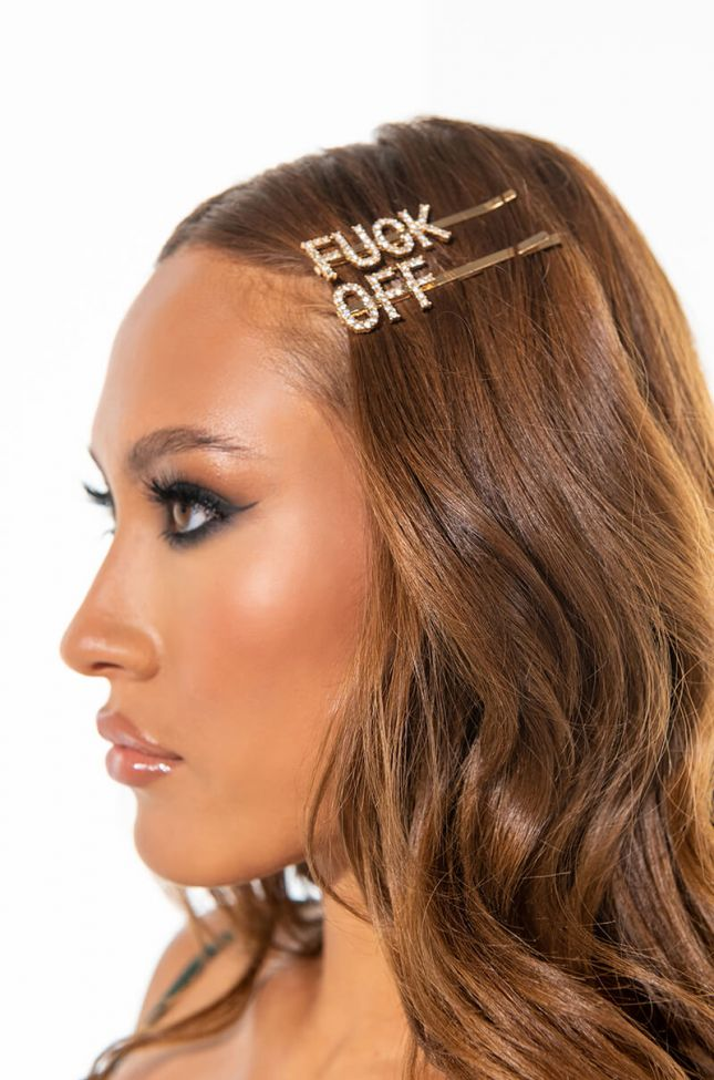 Front View Fuck Off Hair Clip Set