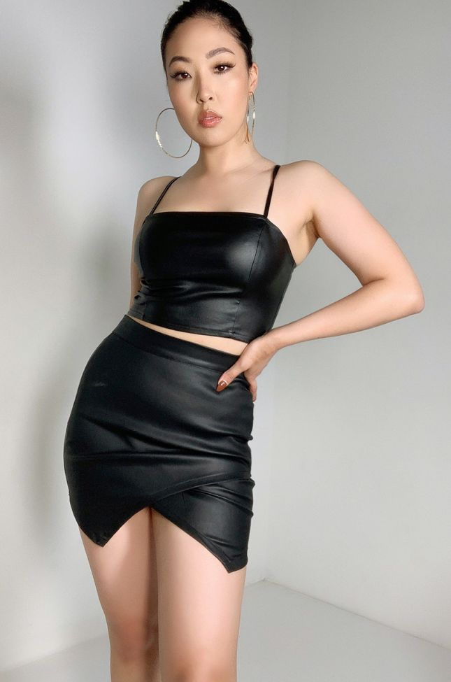Front View Game Over High Waisted Mini Skirt in Black