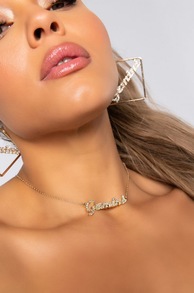Front View Gemini Rhinestone Name Plate Necklace in Gold