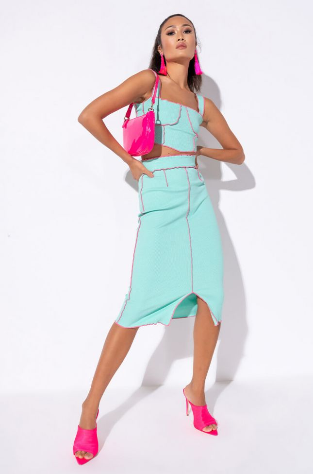 Get A Taste Bodycon Midi Skirt in Blue