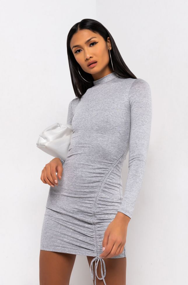 Front View Get On My Level Long Sleeve Drawstring Mini Dress in Heather Grey
