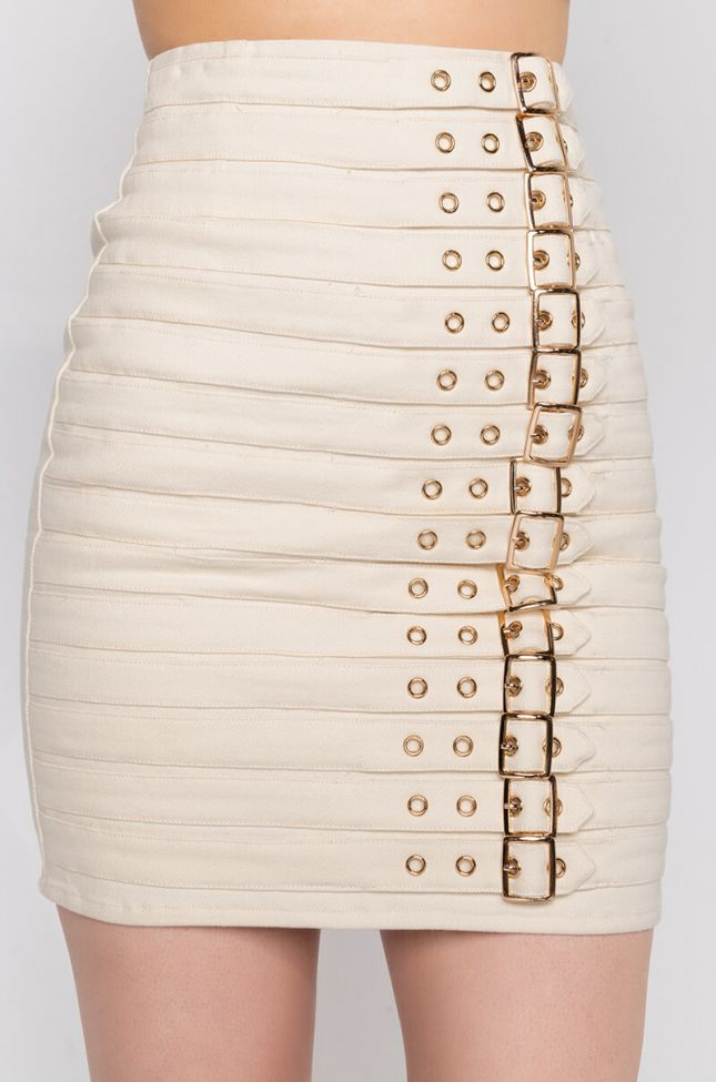 Detail View Get Right Buckle Mini Skirt in Ivory
