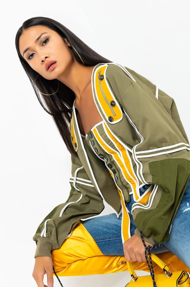 Front View Get To Know Me Jacket Crop Top Set in Green Multi