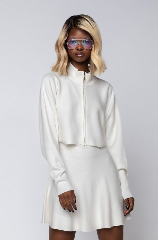Side View Gianna Knit Cropped Zip Up in Ivory