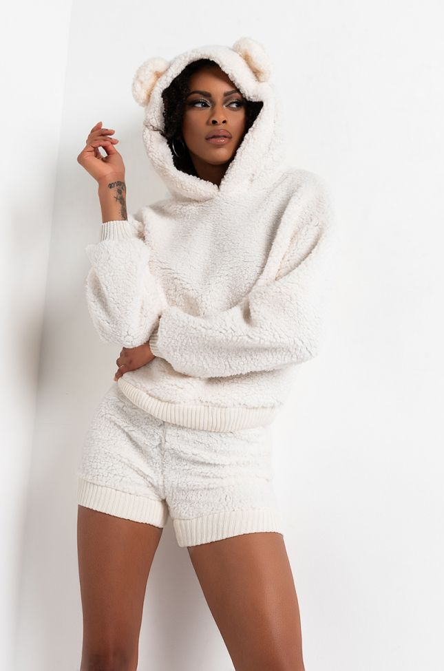Front View Gimme Da Honey Pot Sherpa Bear Ears Hoodie And Shorts in Ivory