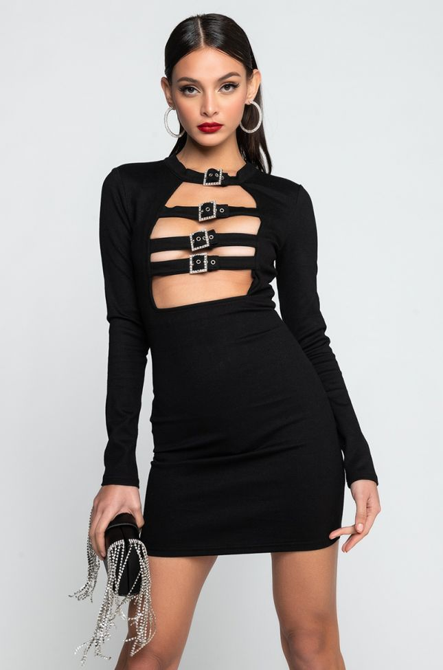 Front View Gimme Gimme More Long Sleeve Belted Detail Mini Dress in Black