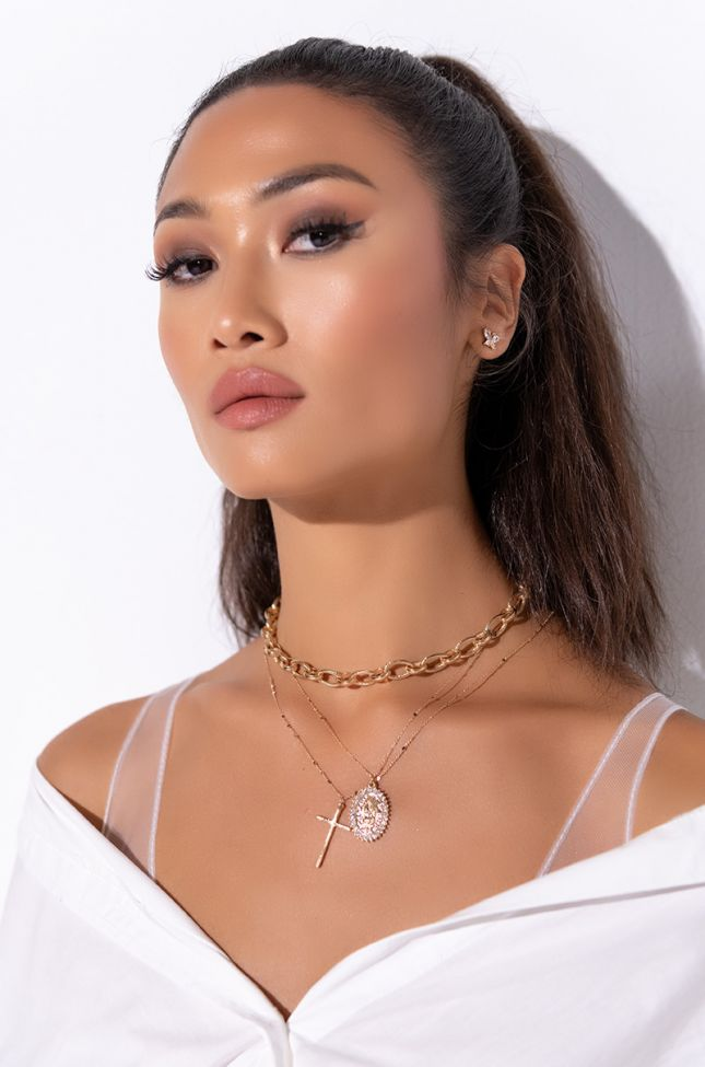 Front View Give Me A Reason Multi Chain Necklace in Gold
