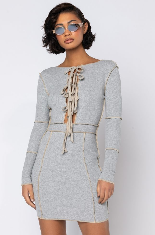 Front View Give Me All You Got Stitch Trim Lace Up Mini Dress in Heather Grey