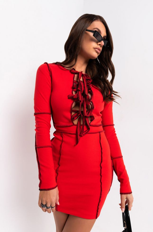 Front View Give Me All You Got Stitch Trim Lace Up Mini Dress in Red