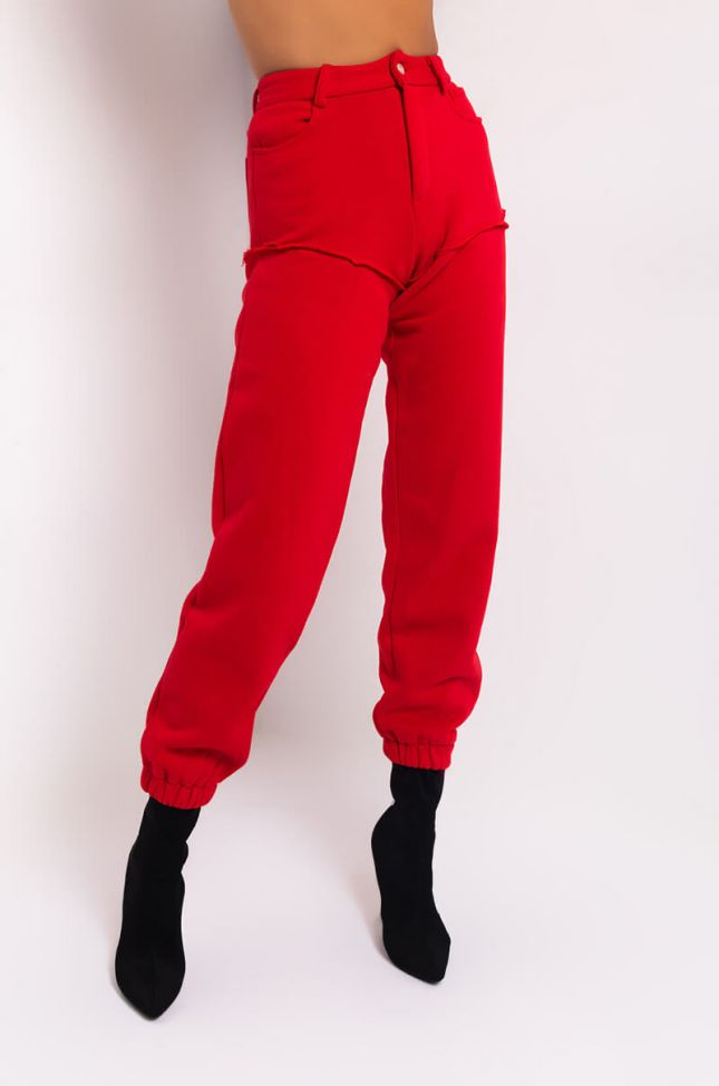 Front View Give Me Attitude Sweatpants With Side Cutout in Red