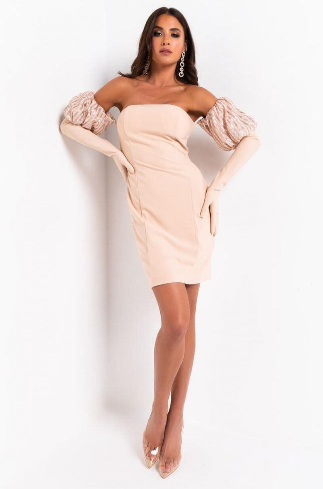 Give Me Some Suga Tube Mini Dress With Embellished And Gloved Sleeves in Beige