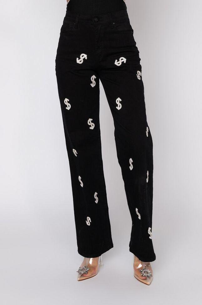 Front View Give Me The Money High Waisted Relaxed Jeans in White