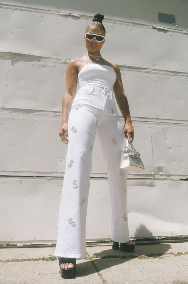 Give Me The Money High Waisted Relaxed Jeans in White