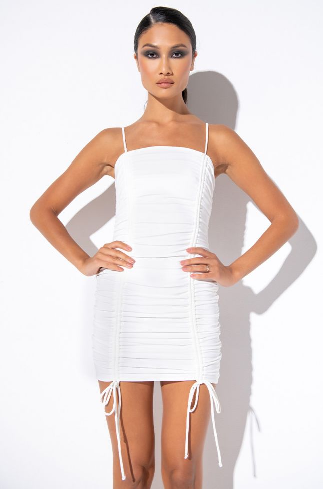 Front View Give Me What Ya Got Ruched Mini Dress in White