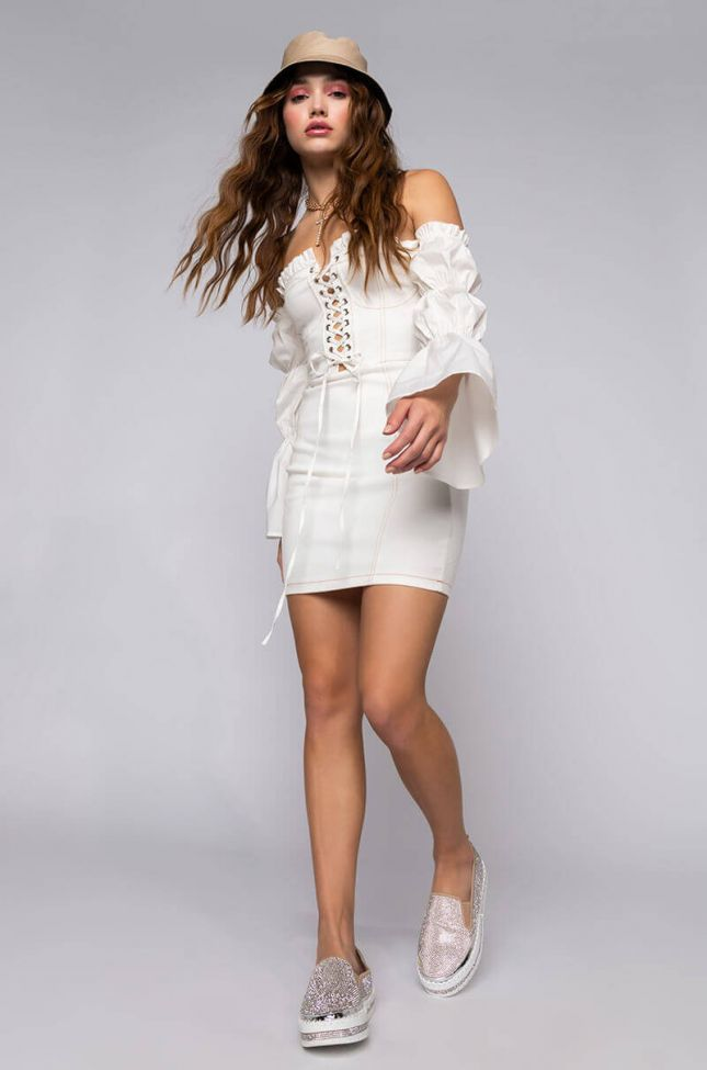 Given The Chance Lace Up Off The Shoulder Mini Dress in White