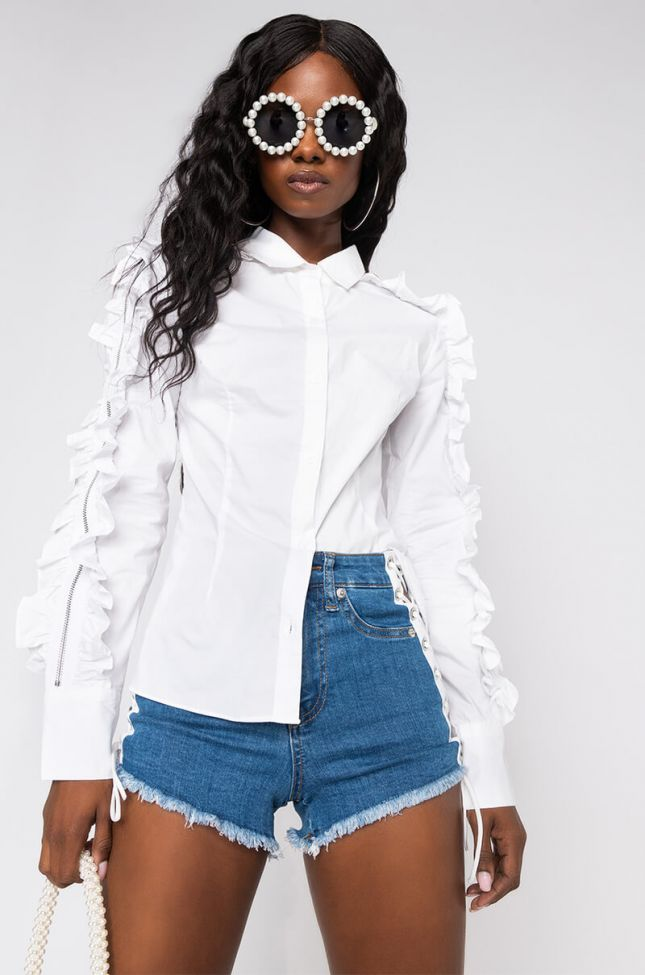 Side View Glad You Came Button Blouse With Embellished Sleeve in White
