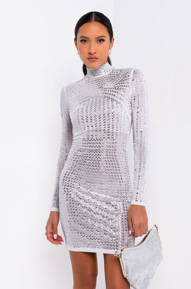 Front View Glam Queen Rhinestone Long Sleeve Mini Dress in White