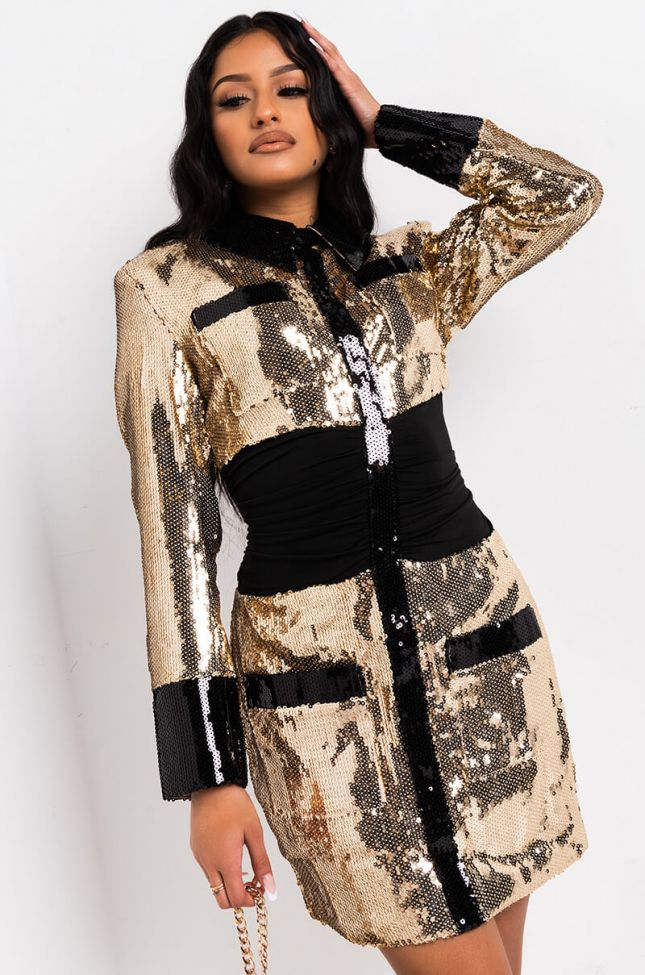 Front View Glitz And Glam Long Sleeve Blazer Mini Dress in Gold