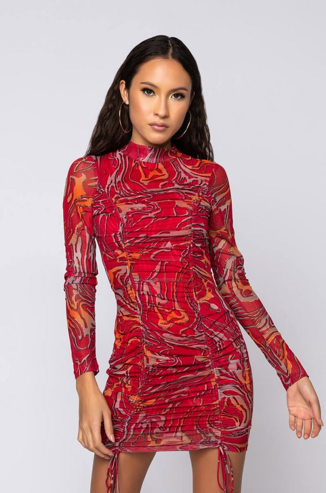 Front View Go Crazy Swirl Print Mini Dress in Red Multi