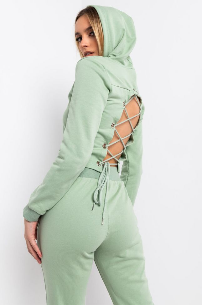 Back View Go Go Lace Up Long Sleeve Hoodie in Light Green