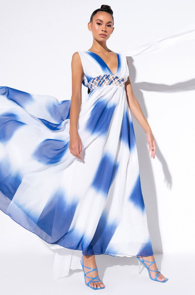 Side View Goddess Waist Detail Maxi Dress in Blue Multi