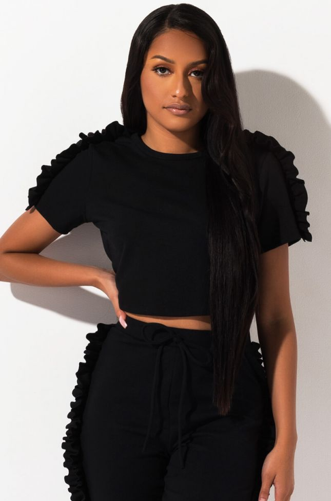 Front View Going To Be Alright Ruffle Crop Top in Black