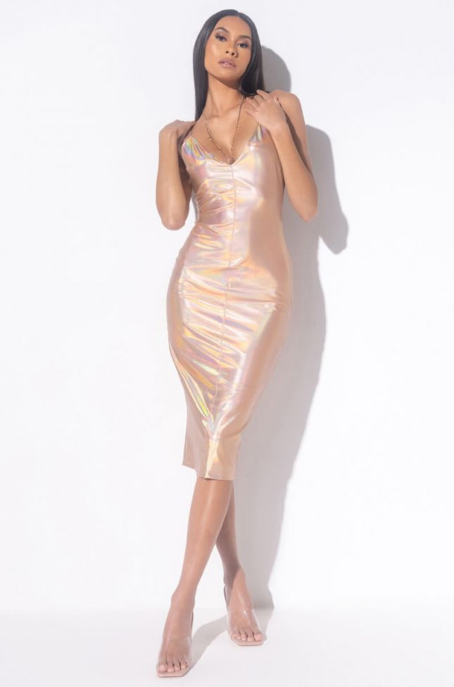 Front View Gold Member Official Metallix Leather Midi Dress in Gold
