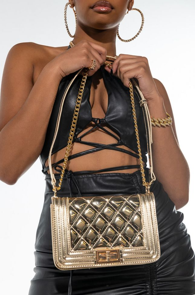 GOLD MEMBER QUILTED SHINY PURSE