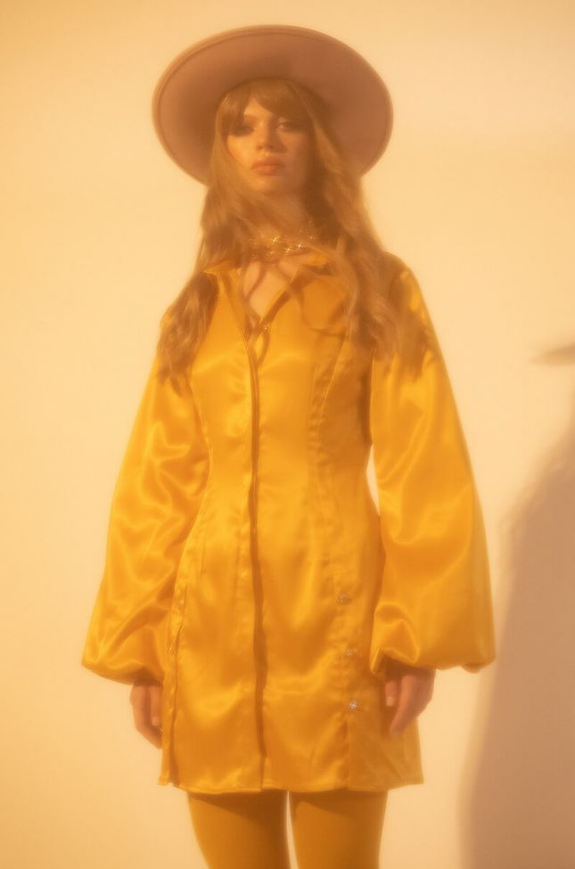Front View Golden Looks Button Up Mini Dress With Fashion Sleeves