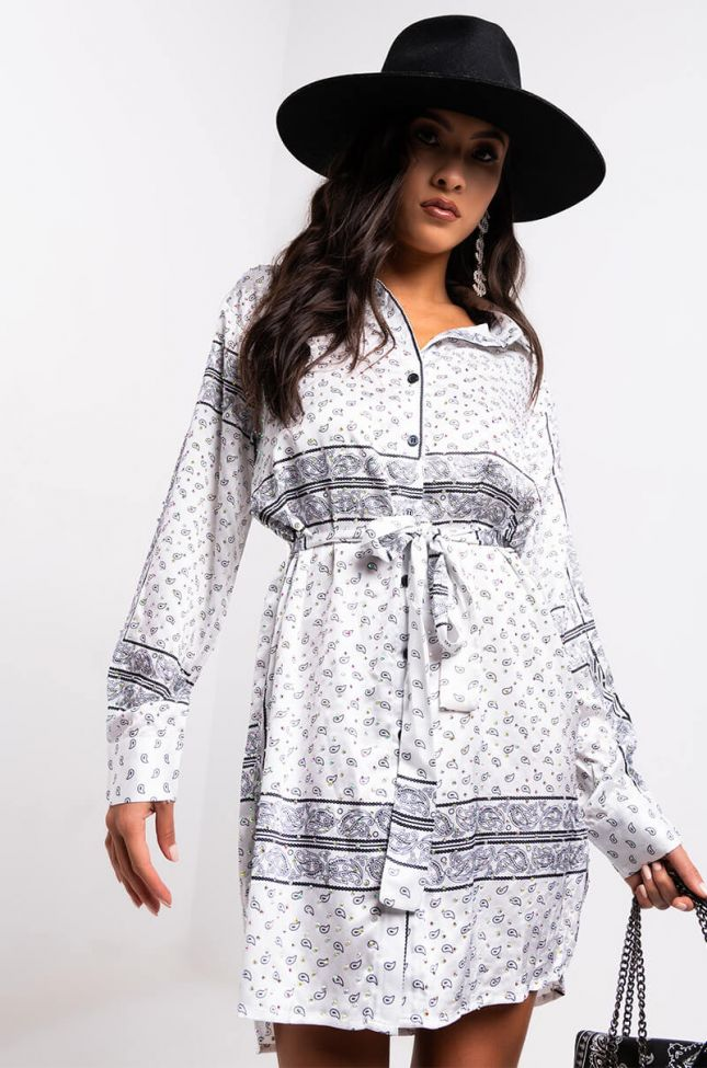 Front View Gone With The Wind Long Sleeve Bandana Printed Mini Dress in White