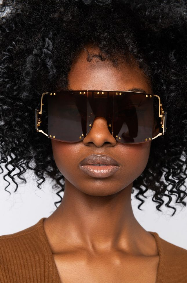 Front View Good Dayz Oversized Brown Sunnies in Brown