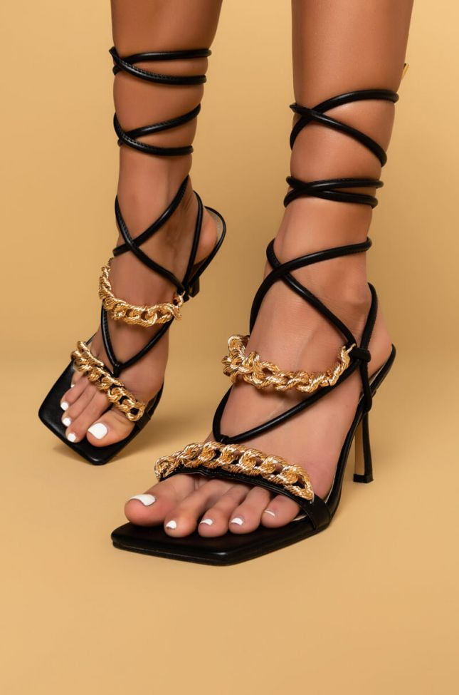 Front View Good For You Stiletto Sandal in Black