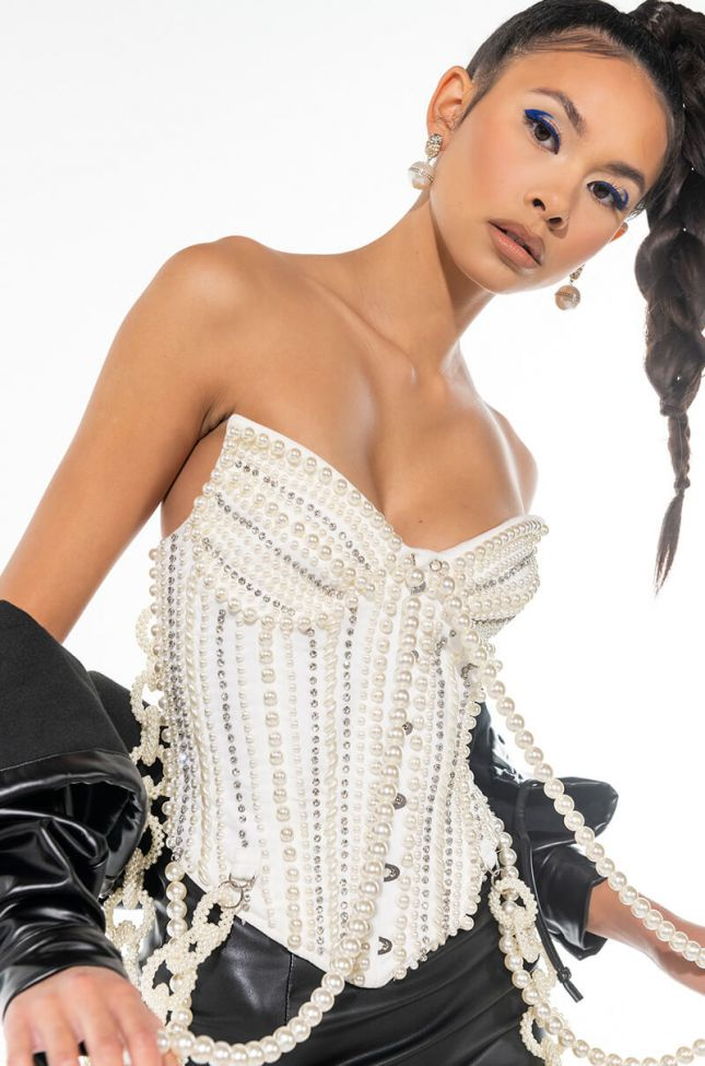 Side View Good Girl Gone Bad Pearl Corset