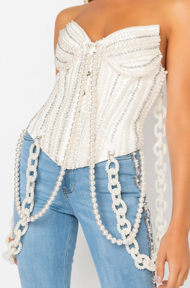 Detail View Good Girl Gone Bad Pearl Corset in White